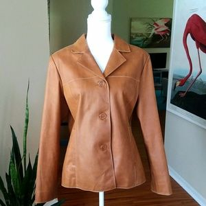 Mossimo Tan Leather Button Up Hipster Jacket EUC
